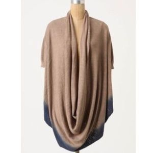 MOTH Dip Dye Cowl Sweater Top Oversize Brown Blue